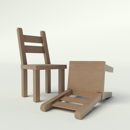 upturned: upturned wooden chairs Stock Photo