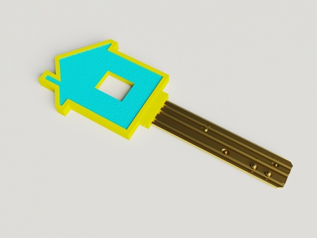 fine 3d image of isolated key of dreams house photo
