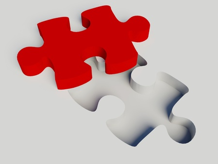 Jigsaw puzzle on a white background photo