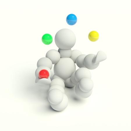3d man juggles balls in colors photo