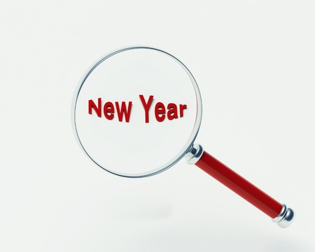 New Year magnifying glass on a white background photo