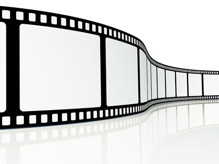 video reel: Blank film strip on a white background Stock Photo