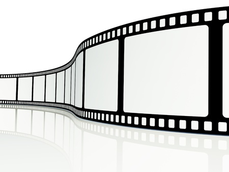 rollo pelicula: Tira de película en blanco sobre un fondo blanco