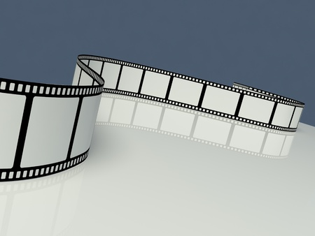 Blank film strip on a white background photo