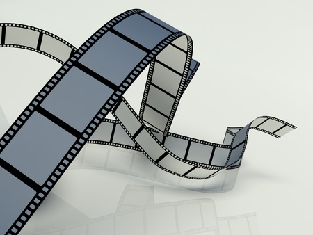 cinematography: Blank film strip on a white background Stock Photo