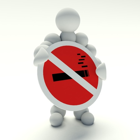 3d man holding a no smoking sign photo
