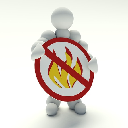 hazardous substances: 3d man holding a sign prohibited fires Stock Photo