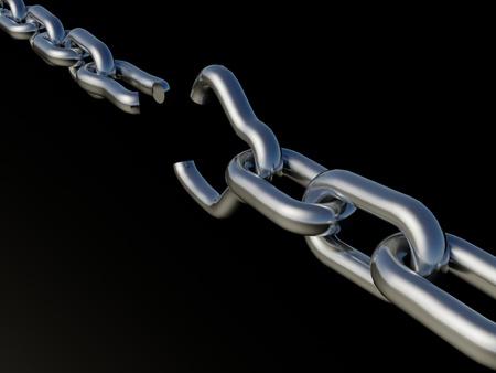cadena rota: Cadena rota sobre un fondo negro