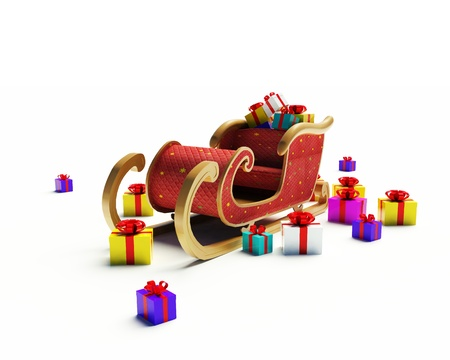 snow sled: Santa Claus sled on a white background