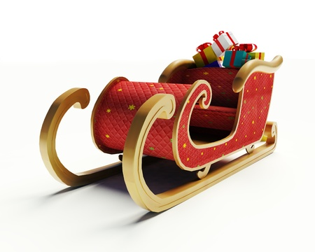 sled: Santa Claus sled on a white background