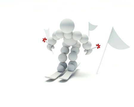 dexterity: 3d man can ski on a white background