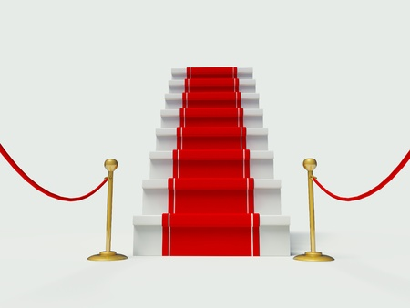 different goals: luxury entrance with red carpet