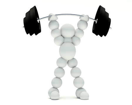 3d man rising weights on a white background