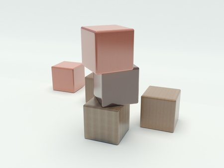 wooden blocks on a white background photo