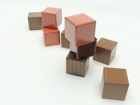 scattered: wooden blocks on a white background Stock Photo