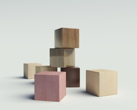 colored play: wooden blocks on a white background Stock Photo