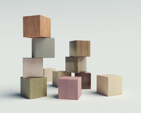 bloques de madera sobre un fondo blanco Foto de archivo