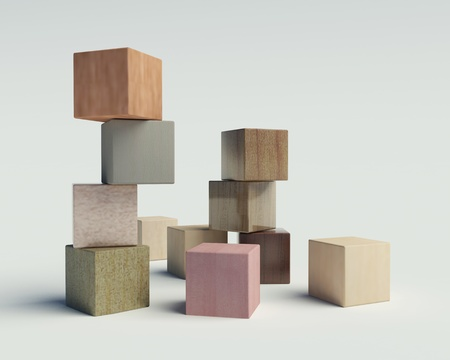 houten blokken op een witte achtergrond Stockfoto