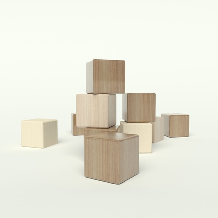 yellow block: wooden blocks on a white background Stock Photo