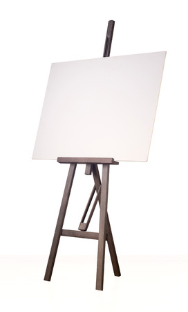 paper board: Painting wooden tripod with empty cardboard isolated on white background