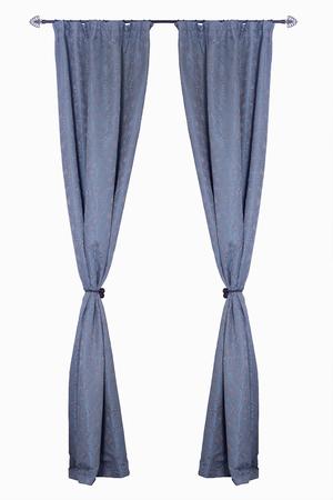 telon de teatro: cortinas verticales azules aislados en el fondo blanco Foto de archivo