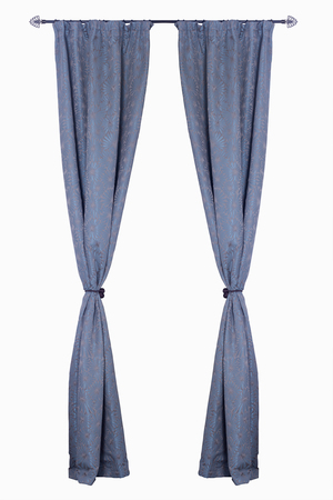 blue curtain: Vertical blue curtains isolated on white background Stock Photo