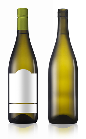 chardonnay: Chardonnay burgundy green wine bottles isolated on white background with label and without label.