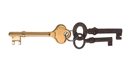 golden key: A golden key and two rusted ones.