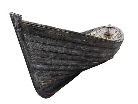 Horizontale zijaanzicht van een oude vissers houten boot met roestige spijkers op een witte achtergrond