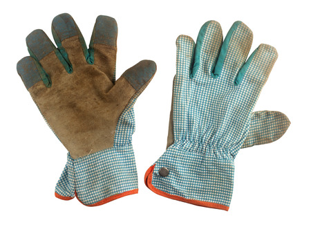 gardening gloves: Pair of used gardening gloves isolated on white background