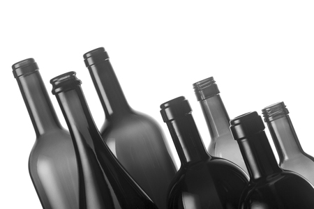 wine trade: Collection of eight different types of wine bottles isolated on white background Stock Photo