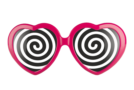 bewitch: A pair of pink heart shaped glasses with black and white hypnotizing spirals Stock Photo
