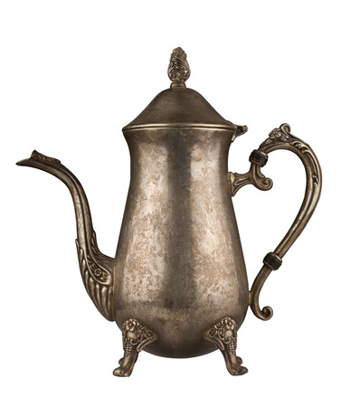 engravings: Silver vintage tea kettle with engravings isolated on white background