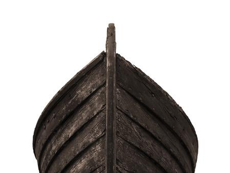 古い錆びた釘が白い背景で隔離の釣り木製ボートのフロント ビュー 写真素材