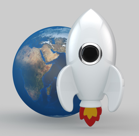 come back: 3D render of a symbolic rocket. The rocket is painted in white. Yellow and red flames come out from its thrusters.  In the middle of the rocket there is a chrome, black glass window. At the back of the rocket there is planet earth.