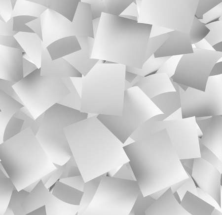 paper sheets: front view of a large amount of white empty papers falling down Stock Photo