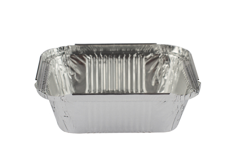 box size: horizontal front view of an open empty aluminum meal pack isolated