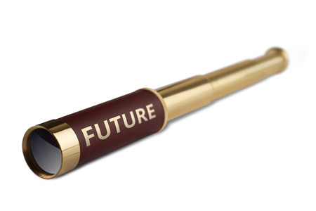 business it: 3d illustration business concept with a vintage telescope having the word future written on it