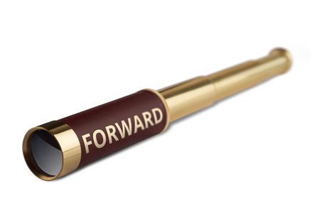 3d illustration leadership concept with a vintage telescope having the word forward written on it