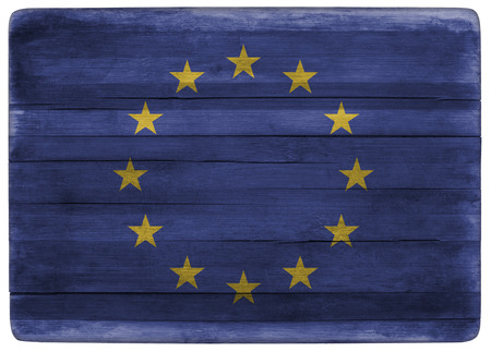 front view: horizontal front view 3d illustration of an European Union flag on wooden textured cooking board Stock Photo