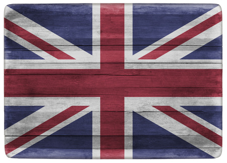horizontal front view 3d illustration of an UK flag on wooden textured cooking board Stock Photo