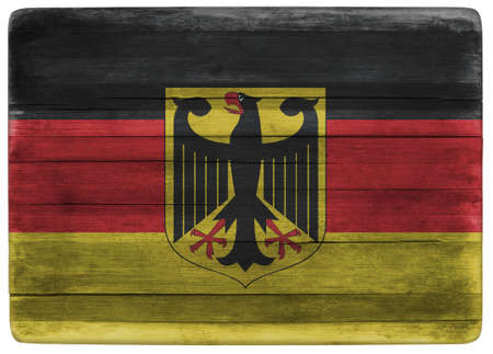 front view: horizontal front view 3d illustration of an Germany flag on wooden textured cooking board