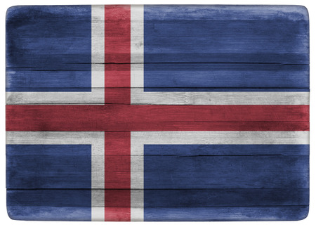 iceland flag: horizontal front view 3d illustration of an Iceland flag on wooden cooking textured board