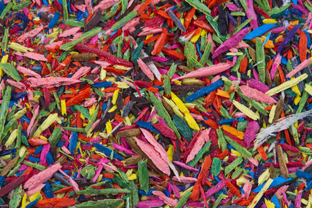 remains: Horizontal top view of colorful remains on pencil sharpening Stock Photo