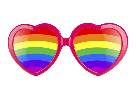 shinning: LGBT concept. A pair of pink heart shaped sun glasses with rainbow lenses isolated