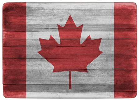 front view: horizontal front view 3d illustration of an Canada flag on wooden cooking textured board