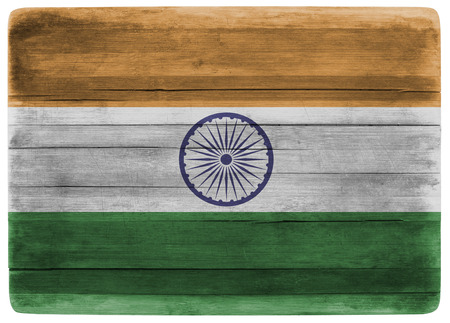 front view: horizontal front view 3d illustration of an India flag on wooden textured cooking board Stock Photo