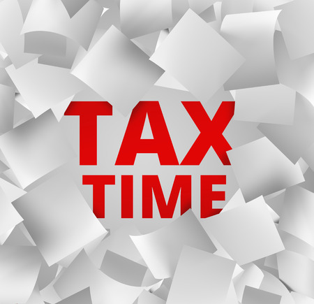 quantity: 3d illustration concept for tax time with falling papers and red words behind