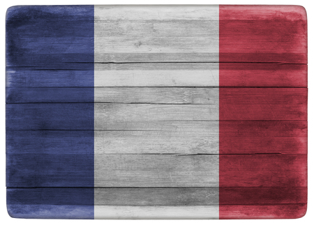 french board: horizontal front view 3d illustration of an France flag on wooden textured cooking board