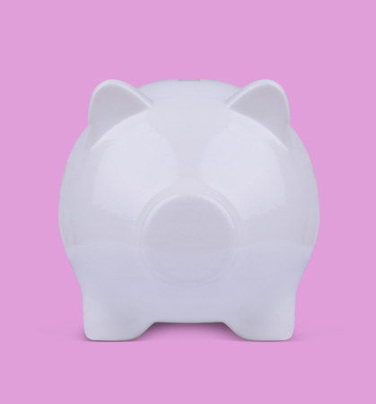 front view: front view 3d illustration of a white piggy bank on pink background